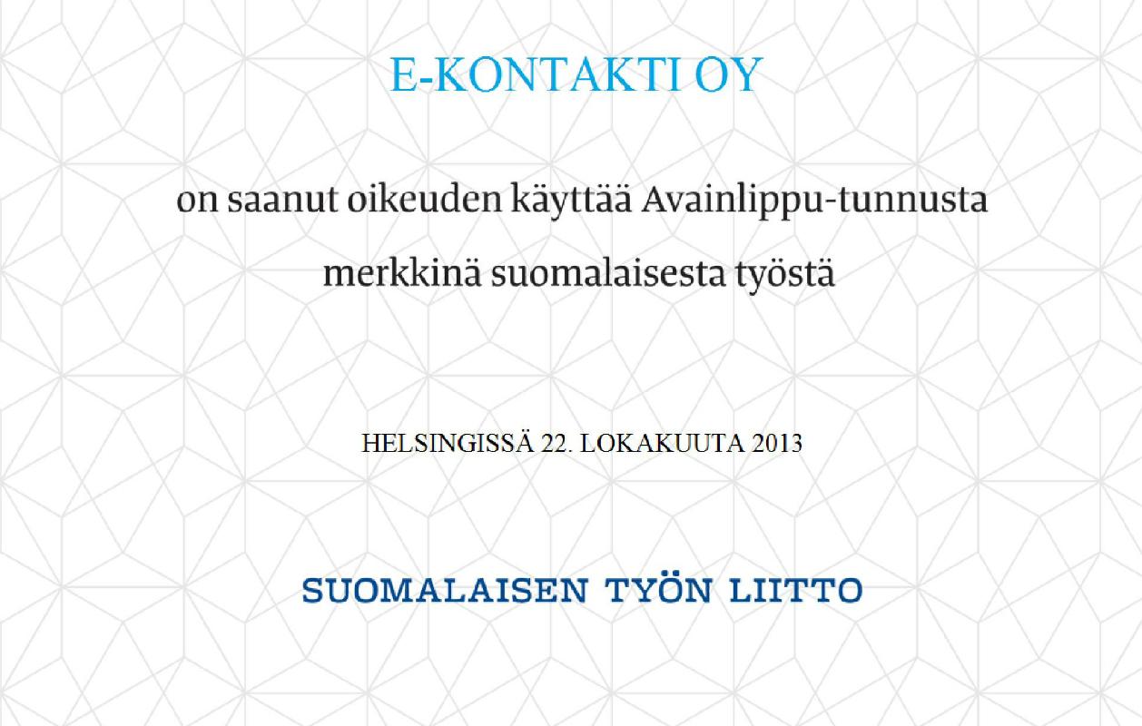 E-kontakti.fi sai Avainlippu-diplomin 22.10.2013