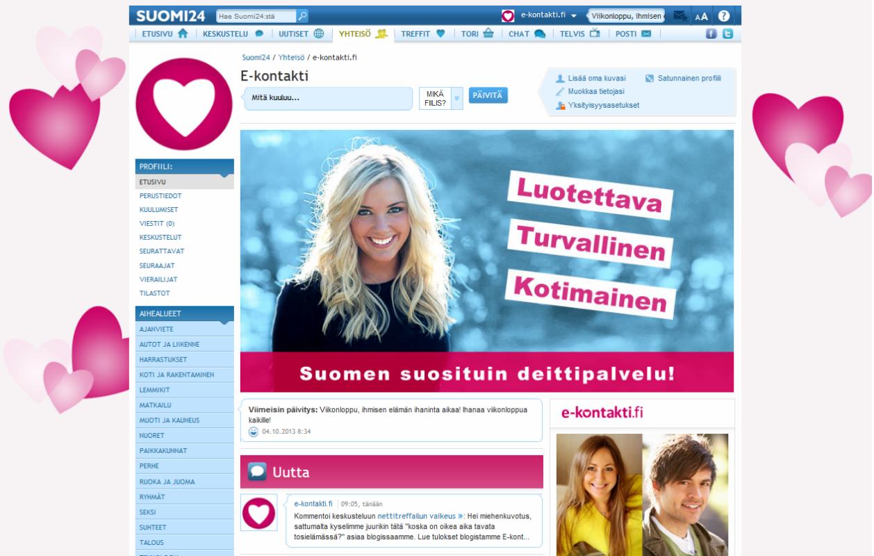 E-kontakti.fi toimii nettideittailun asiantuntijana Suomi24.fi-keskustelupalstalla.