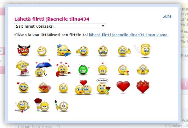 Flirttiviestin kanssa voi lähettää E-kontakti.fissä hauskan animoidun hymiön