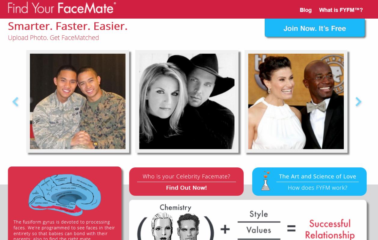 Yhdysvaltalainen FaceMatch-sivusto yhdistää ihmisiä, joiden kasvot ovat saman muotoisia keskenään.