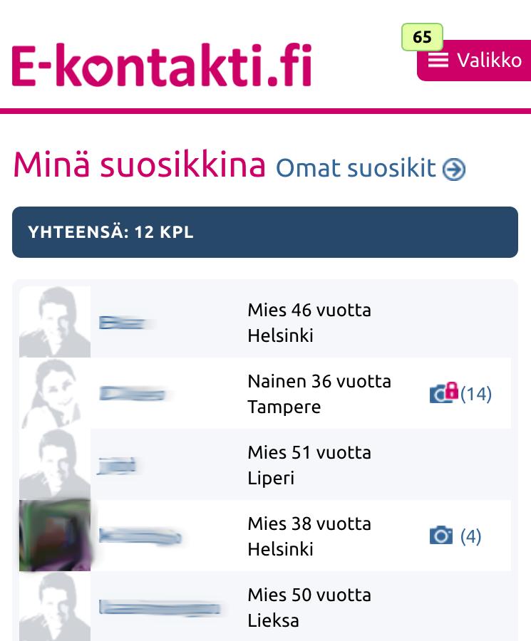 E-kontakti.fin uusi kansiorakenne responsiivisessa näkymässä.