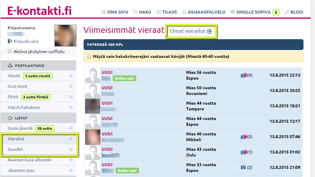Vieraat ja suosikit -kansiot yhdistettiin E-kontakti.fissä.