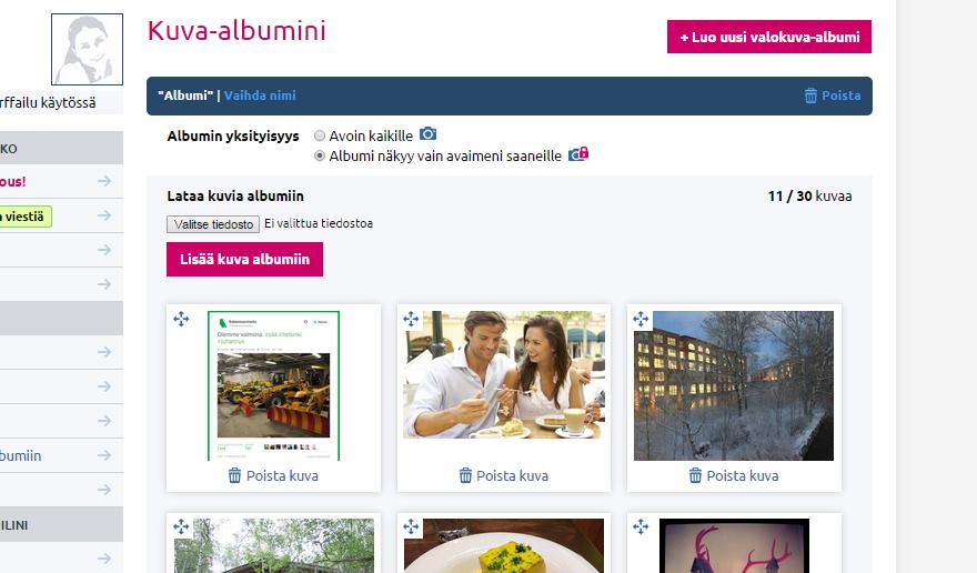 Kuva-albumi E-kontakti.fissä voi olla joko julkinen tai lukon takana oleva suljettu.